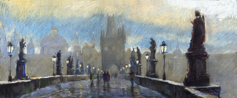 Prague Charles Bridge 06 Pastel  - Prague Charles Bridge 06 Fine Art Print