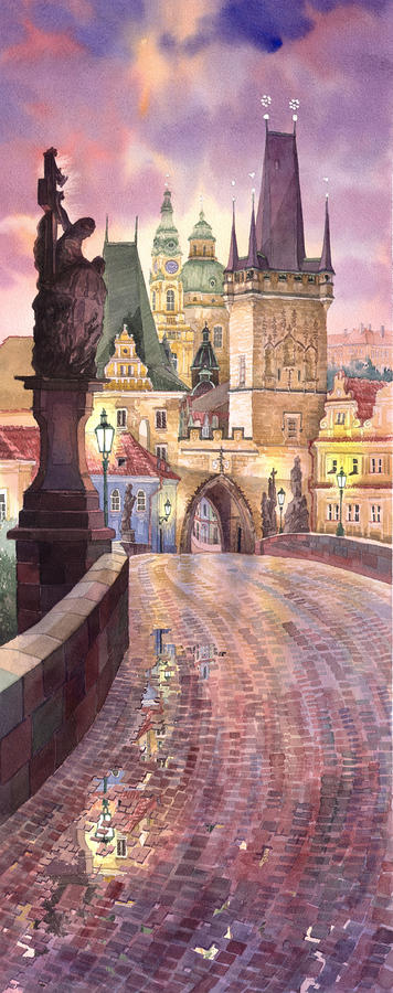 Prague Charles Bridge Night Light 1 Painting  - Prague Charles Bridge Night Light 1 Fine Art Print
