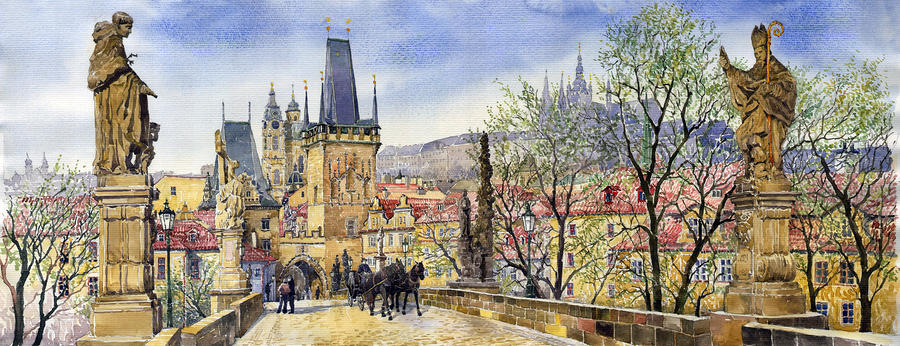 Prague Charles Bridge Spring Painting
