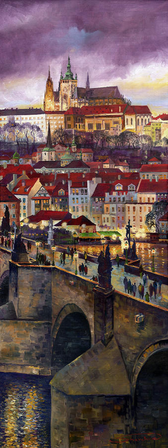 Prague Charles Bridge With The Prague Castle Painting  - Prague Charles Bridge With The Prague Castle Fine Art Print