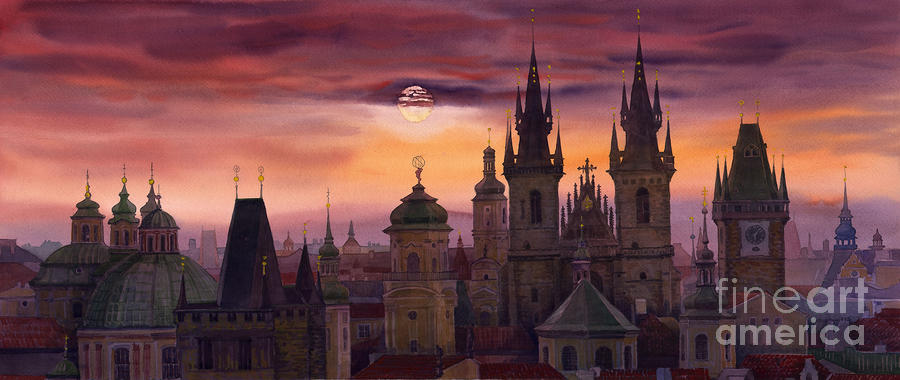 Prague City Of Hundres Spiers Painting  - Prague City Of Hundres Spiers Fine Art Print