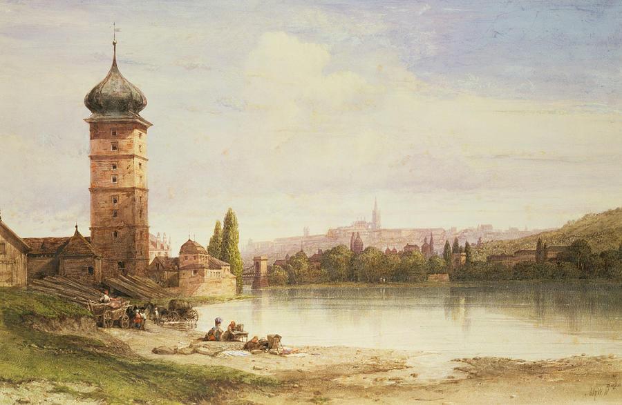 Dome; Lake; Tower; City; Capital; Vltava River Painting - Prague Czechoslovakia by William Wyld