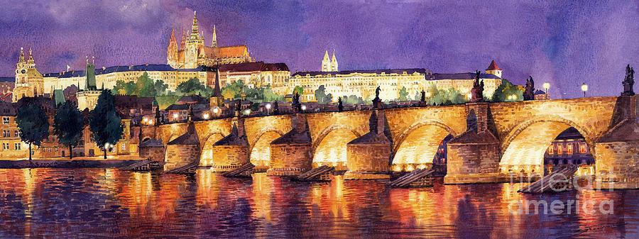 Prague Night Panorama Charles Bridge  Painting