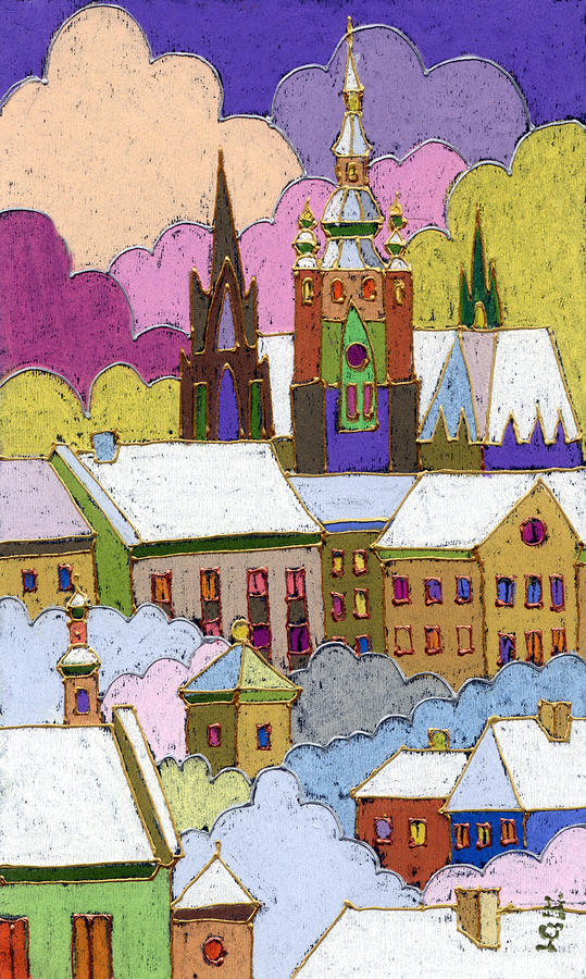 Prague Old Roofs Prague Castle Winter Painting  - Prague Old Roofs Prague Castle Winter Fine Art Print