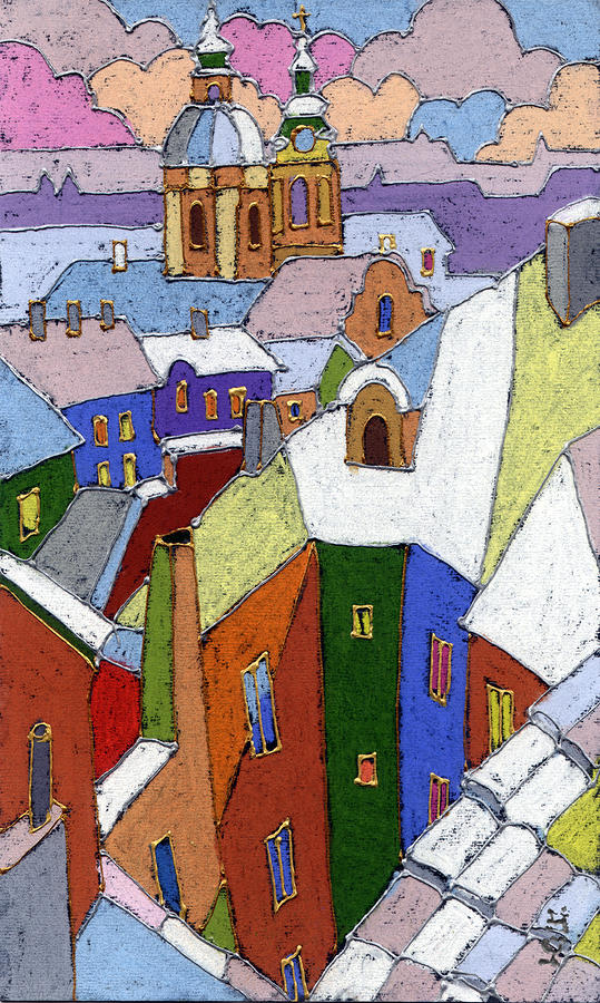 Prague Old Roofs Winter Painting