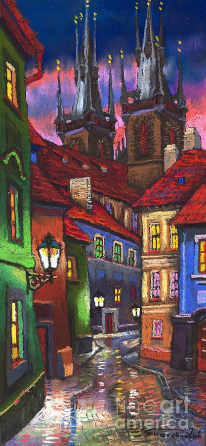 Prague Old Street 01 Painting  - Prague Old Street 01 Fine Art Print
