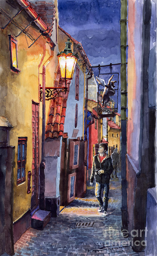Prague Old Street Golden Line Painting  - Prague Old Street Golden Line Fine Art Print