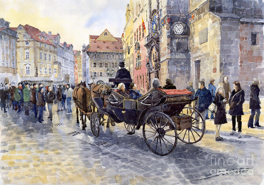 Prague Old Town Hall And Astronomical Clock Painting  - Prague Old Town Hall And Astronomical Clock Fine Art Print