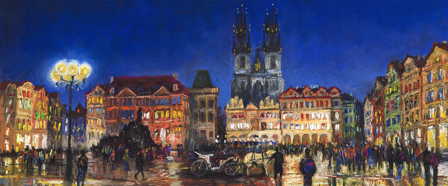 Prague Old Town Square Night Light Painting  - Prague Old Town Square Night Light Fine Art Print
