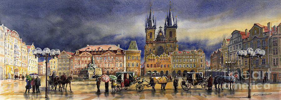 Prague Old Town Squere After Rain Painting  - Prague Old Town Squere After Rain Fine Art Print