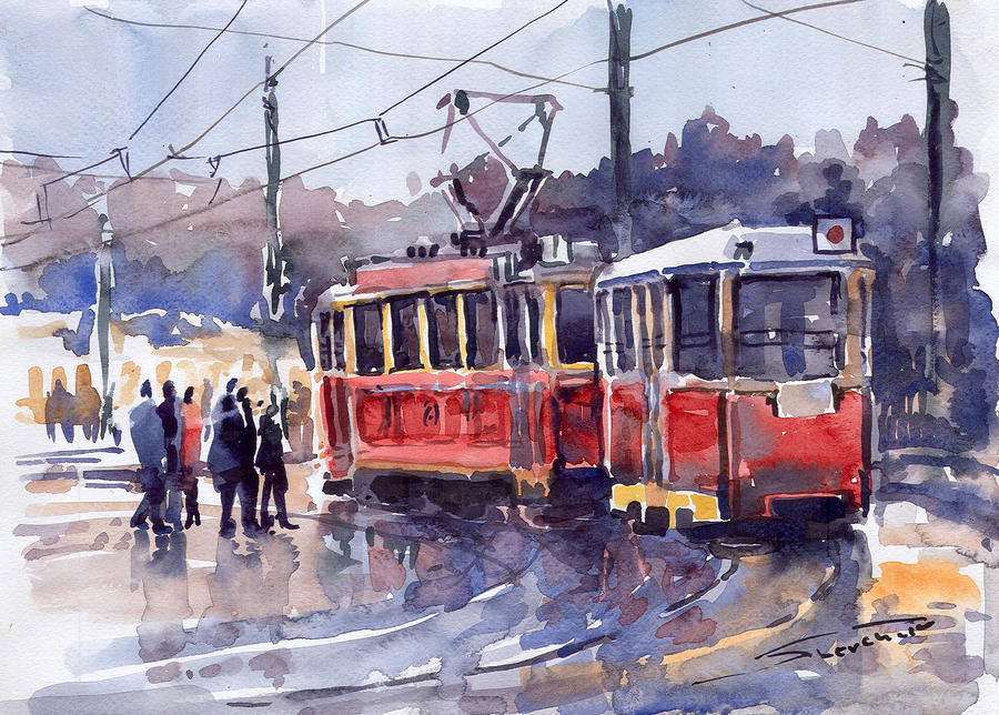 Prague Old Tram 01 Painting  - Prague Old Tram 01 Fine Art Print
