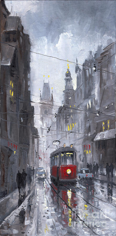 Prague Old Tram 03 Painting  - Prague Old Tram 03 Fine Art Print