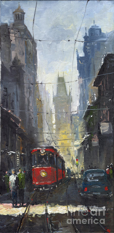 Prague Old Tram 05 Painting  - Prague Old Tram 05 Fine Art Print