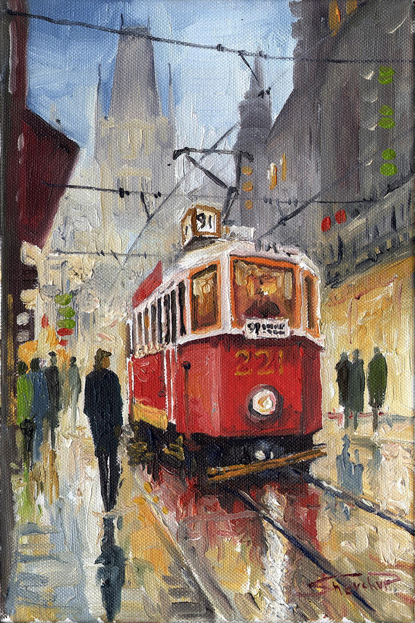 Prague Old Tram 07 Painting  - Prague Old Tram 07 Fine Art Print