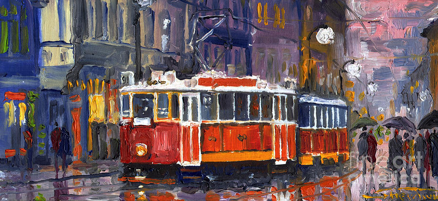 Prague Old Tram 09 Painting  - Prague Old Tram 09 Fine Art Print
