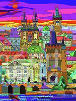 Prague Panorama Old Town Mixed Media