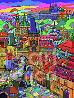 Prague Panorama With Charles Bridge Mixed Media