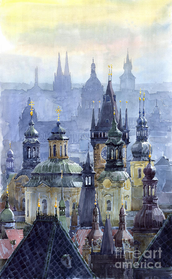 Prague Towers Painting  - Prague Towers Fine Art Print