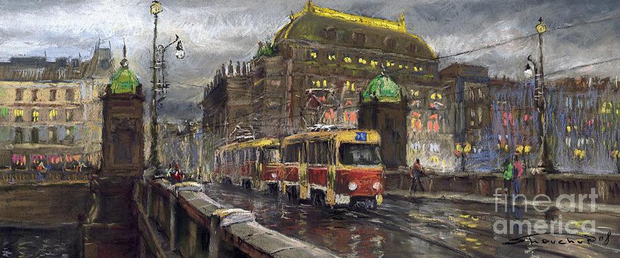 Prague Tram Legii Bridge National Theatre Painting