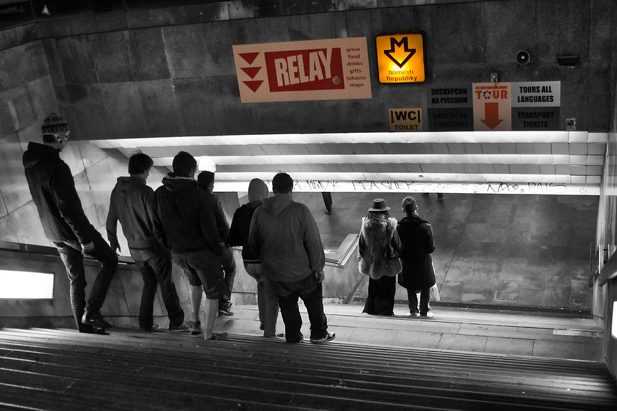 Prague Underground Station Stairs Photograph  - Prague Underground Station Stairs Fine Art Print