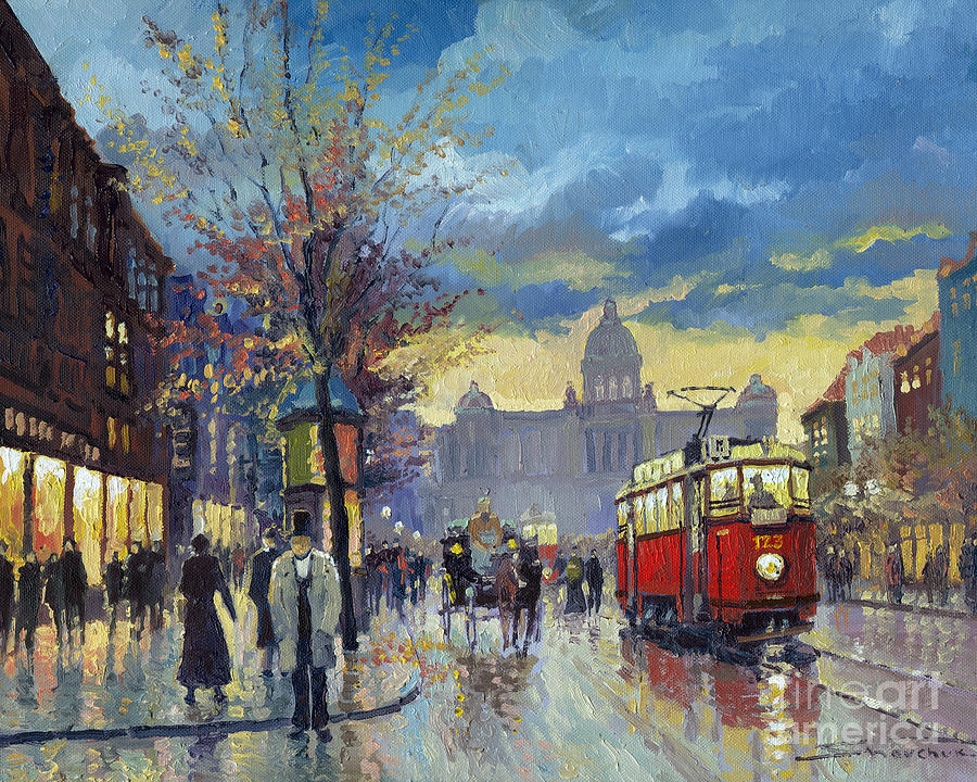 Prague Vaclav Square Old Tram Imitation By Cortez Painting  - Prague Vaclav Square Old Tram Imitation By Cortez Fine Art Print