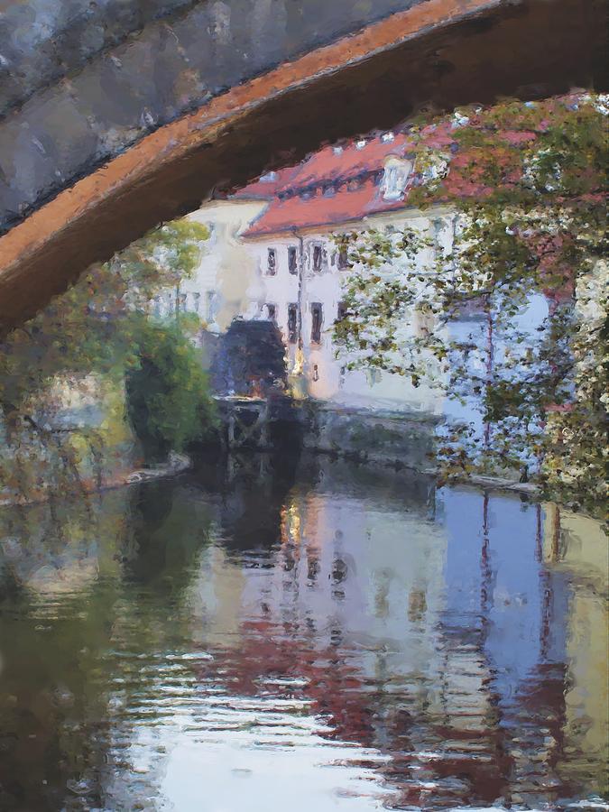 Praha Canal Dusk Painting