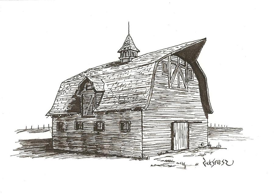 Prairie Barn Drawing  - Prairie Barn Fine Art Print