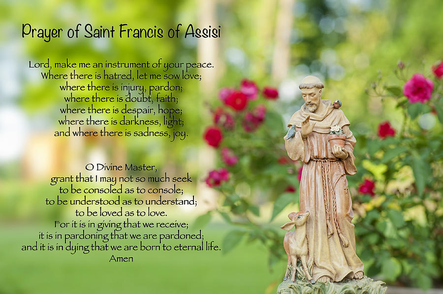 Prayer Of St. Francis Of Assisi Photograph  - Prayer Of St. Francis Of Assisi Fine Art Print