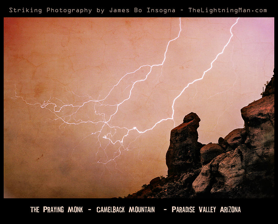 Praying Monk Camelback Mountain Lightning Monsoon Storm Image Tx Photograph