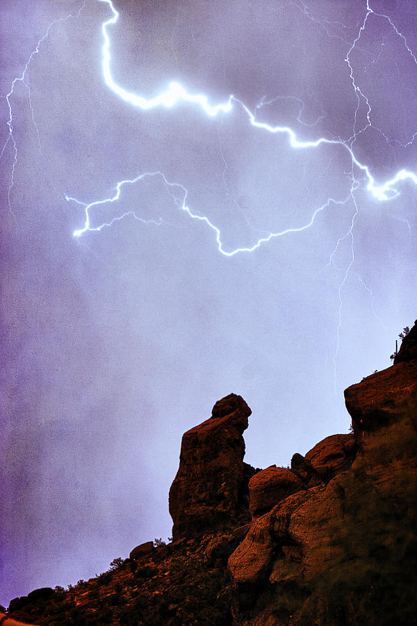 Praying Monk Camelback Mountain Paradise Valley Lightning  Storm Photograph