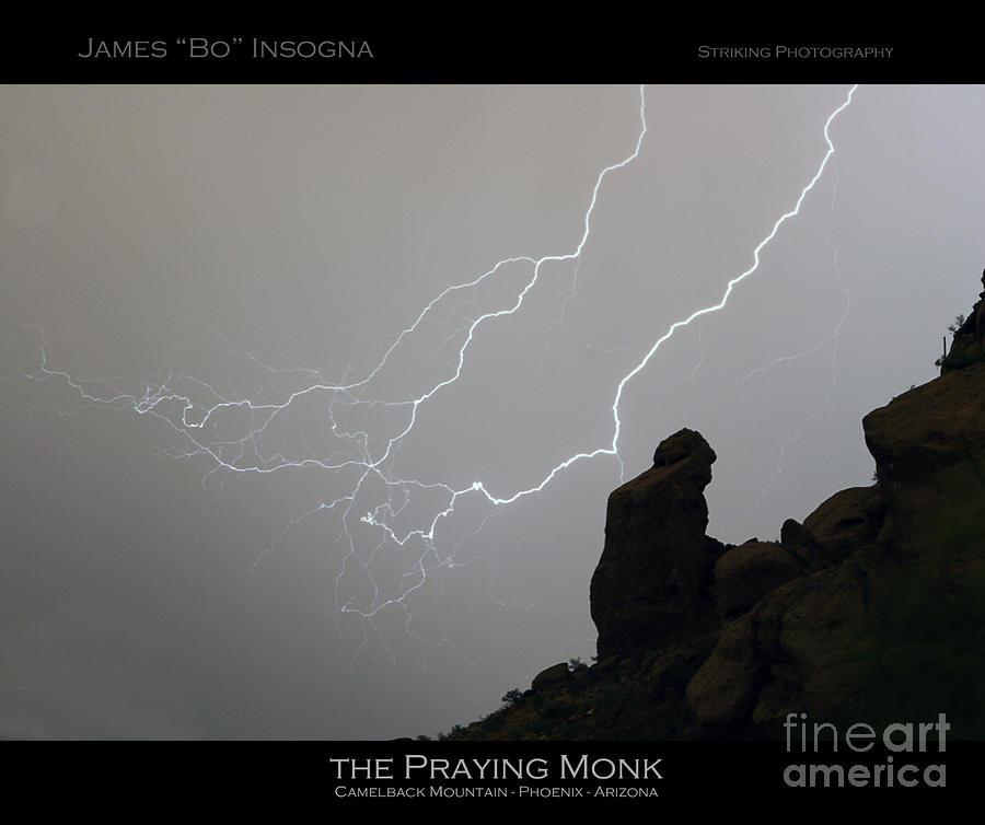 Praying Monk Lightning Striking Poster Print Photograph