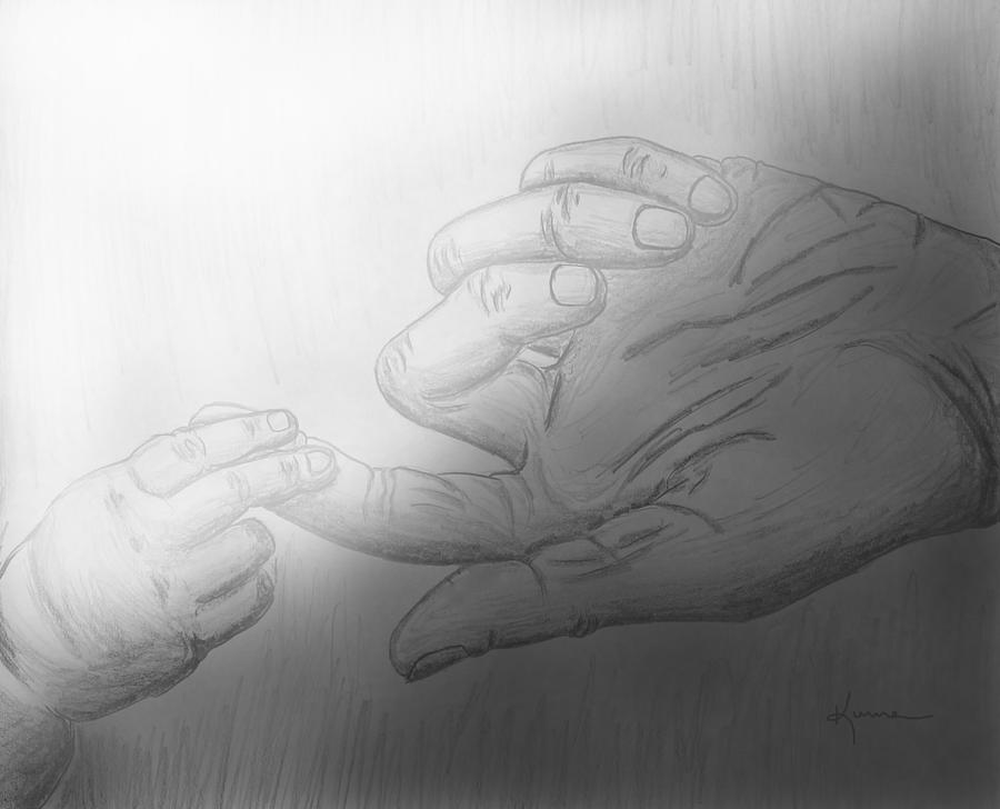 Precious Touch Drawing  - Precious Touch Fine Art Print