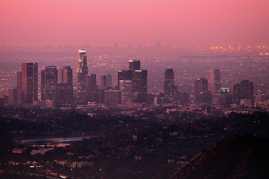Predawn Light On Downtown Los Angeles. Photograph