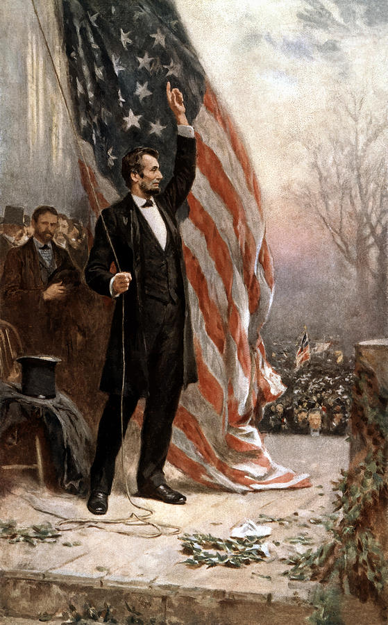 President Abraham Lincoln Giving A Speech Painting  - President Abraham Lincoln Giving A Speech Fine Art Print