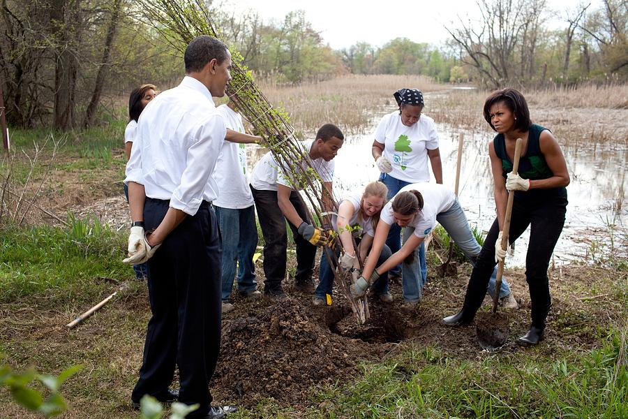 President And Michelle Obama Help Plant Photograph  - President And Michelle Obama Help Plant Fine Art Print