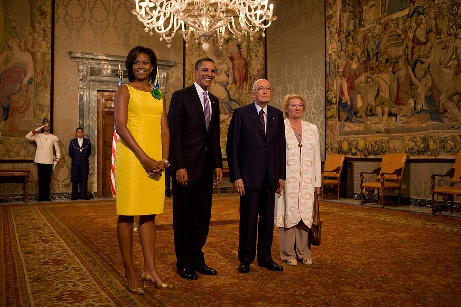 President And Michelle Obama Meet Photograph  - President And Michelle Obama Meet Fine Art Print