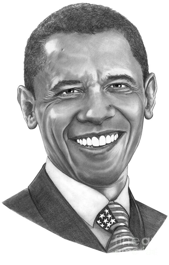 President Barack Obama By Murphy Art. Elliott Drawing