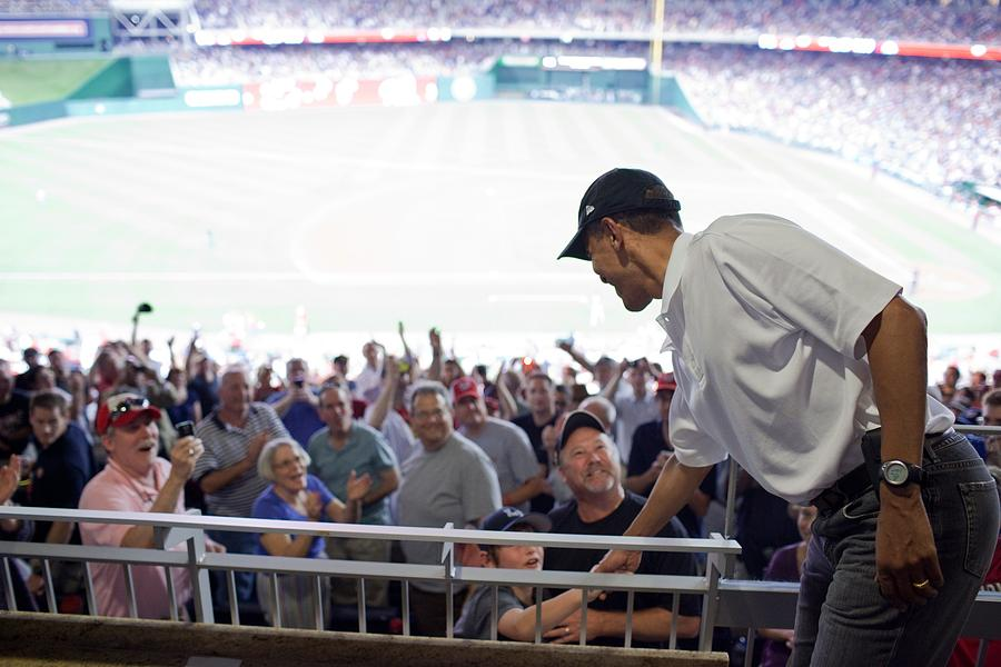 President Barack Obama Greets Baseball Photograph  - President Barack Obama Greets Baseball Fine Art Print