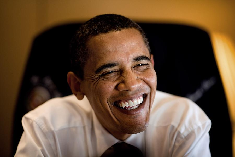 President Barack Obama Laughs During An Photograph  - President Barack Obama Laughs During An Fine Art Print