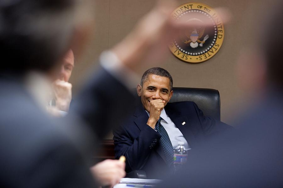 President Barack Obama Laughs Photograph