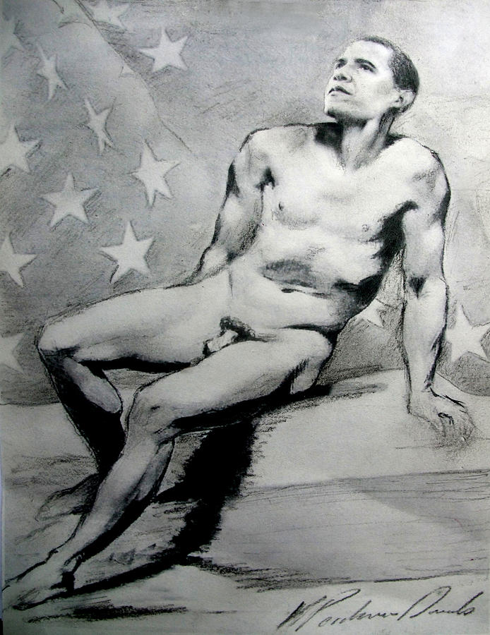 President Barack Obama Nude Study Drawing  - President Barack Obama Nude Study Fine Art Print