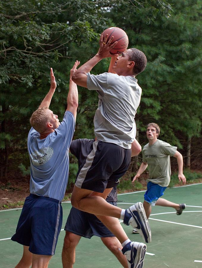 President Barack Obama Plays Basketball Photograph  - President Barack Obama Plays Basketball Fine Art Print