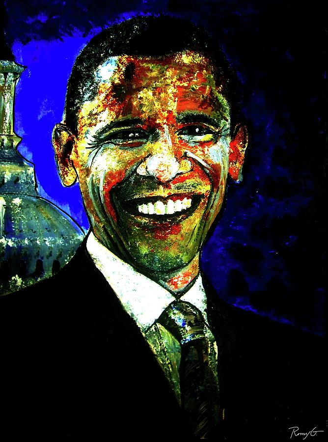 Us President Painting - President Barack Obama by Rom Galicia