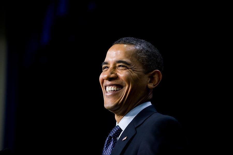 History Photograph - President Barack Obama Smiles While by Everett