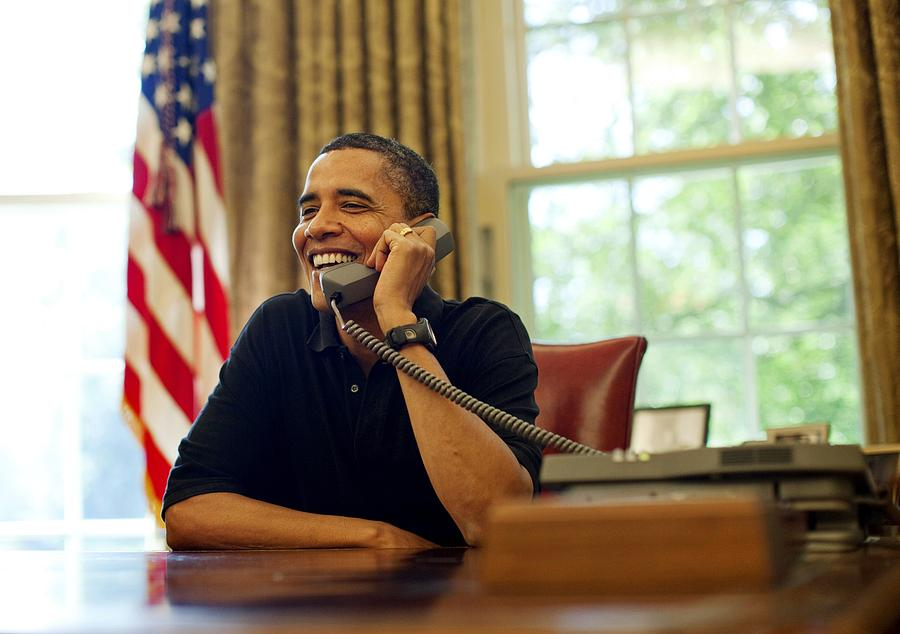 President Barack Obama Talks By Phone Photograph  - President Barack Obama Talks By Phone Fine Art Print