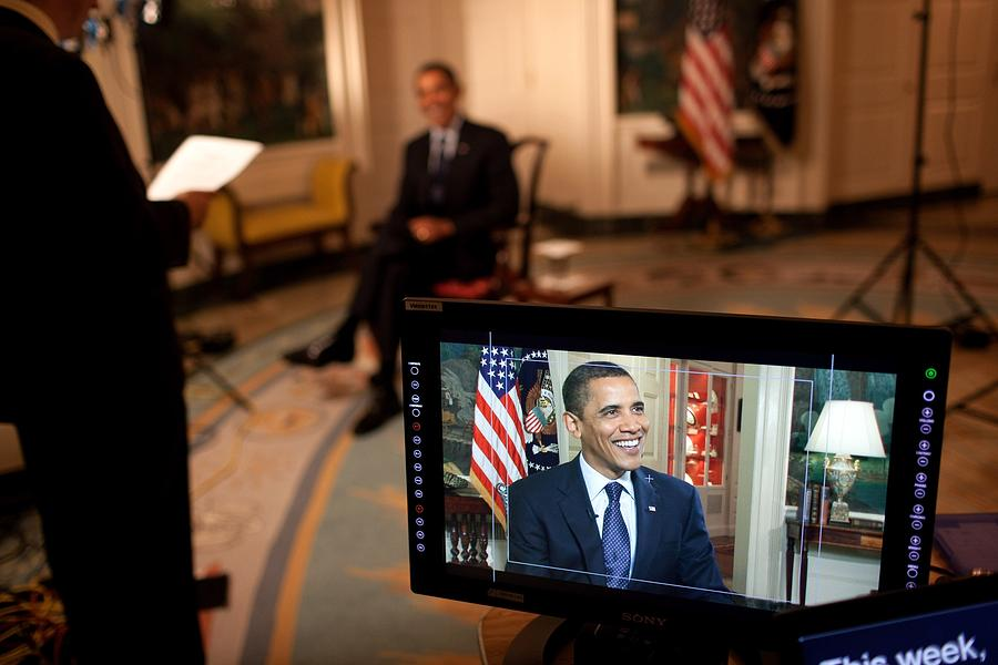 President Barack Obama Tapes The Weekly Photograph  - President Barack Obama Tapes The Weekly Fine Art Print