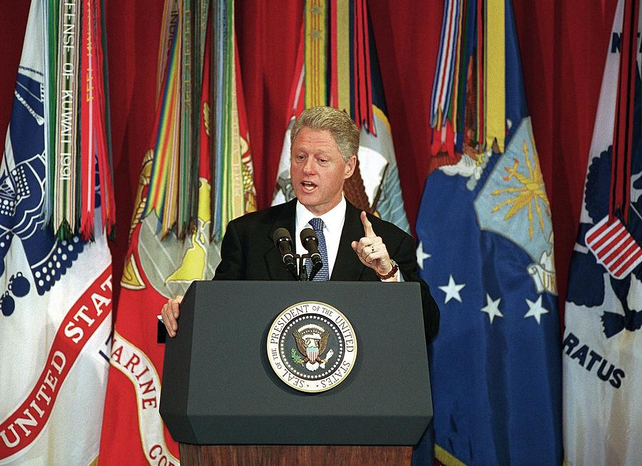 History Photograph - President Clinton Delivers An by Everett