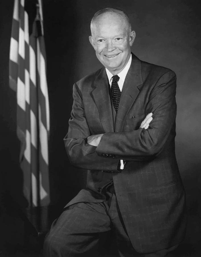 President Eisenhower And The U.s. Flag Painting