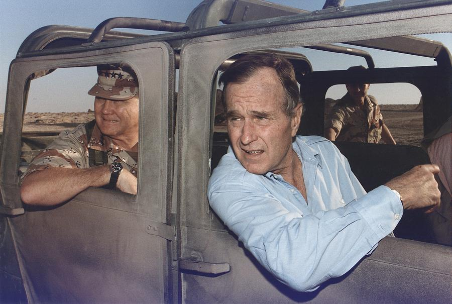 History Photograph - President George Bush Riding In An by Everett