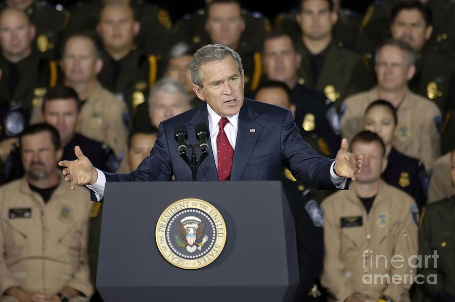 President George W. Bush Speaks Photograph  - President George W. Bush Speaks Fine Art Print